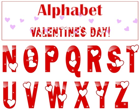 English alphabet with a heart and lights  N-Z   illustration  Vector