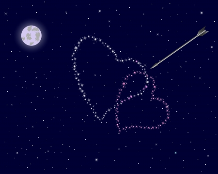 Valentine s day  The night sky with two hearts of stars and an arrow   illustration