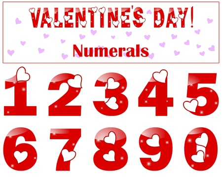 web 2 0: Romantic numbers with a heart and lights illustration.