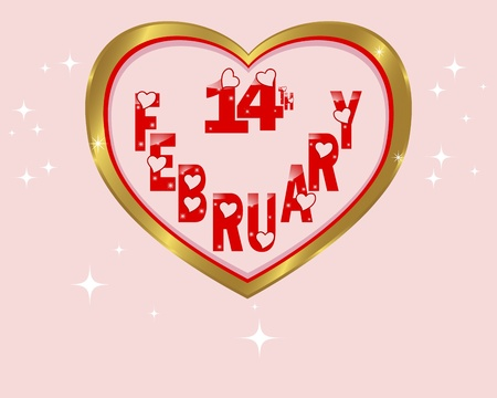 14 february: Gold frame in the shape of heart with date on February, 14th