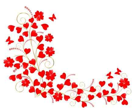 Valentine floral background with a butterflies.  illustration.