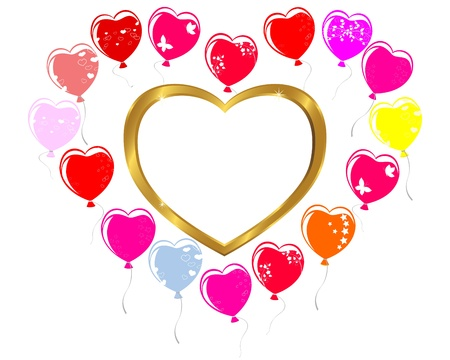 Gold frame and Balloons in the shape of heart. Holiday background illustration. Vector