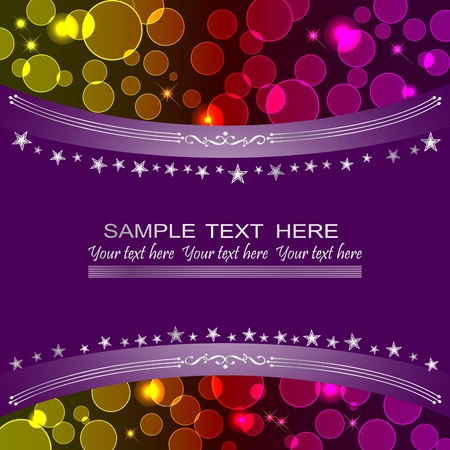 twinkling: Holiday background with bokeh and banner.  Illustration