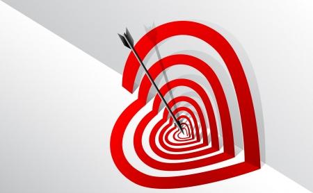 dessin coeur: Cible avec la forme d'un c?ur et une fl�che au centre.
