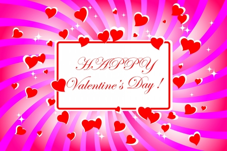 Valentines Banner with swirl and hearts.  Vector