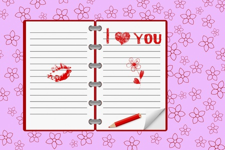 Hand-drawn heart and love messages on notebook paper with pencil.  Vector
