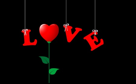 replaced: The word LOVE, hanging and the O replaced by a flower-heart. .