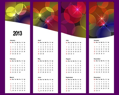 2013 Calendar set with vertical banners. American style.  Vector