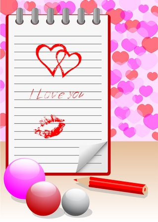 Notebook with hand-drawn love message  Vector