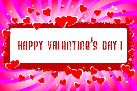valentine s day: Valentine s Day Banner with swirl and hearts