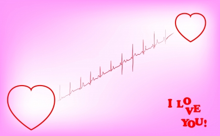 Cardiogram with two hearts and the text i love you    Vector