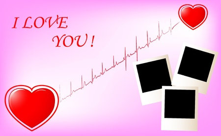 Two hearts with cardiogram and photo frame  vector Stock Vector - 16657313