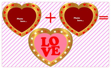 Three framework in the form of heart-concept love  Vector  Vector