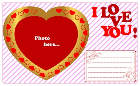 Golden framework in the form of heart with card  Vector  Vector