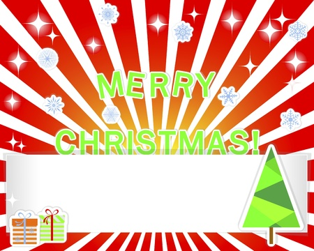 Christmas background with empty banner and stickers christmas tree, snowflakes and gifts Vector