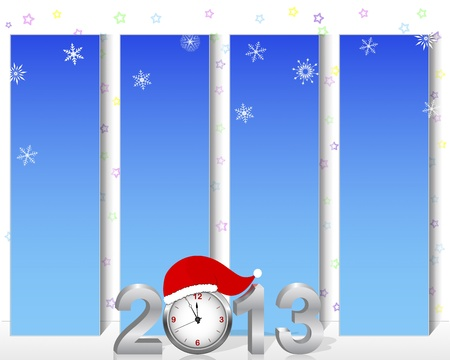 New Year. Vertical billboards with silver 3d 2013 with the clock in the hat of Santa. Vector illustration. Stock Vector - 16760705