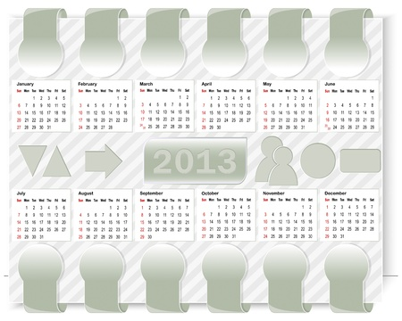 Calendar for 2013 and icons for the website. Vector illustration. Vector