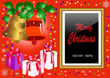 Christmas golden frame with gifts and handbells. vector10eps. Stock Vector - 16760710