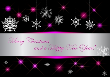 10eps: Christmas banner with snowflakes and glittering stars. vector 10eps.