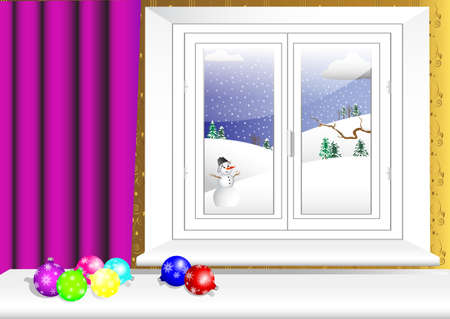 portiere: Christmas balls on table and window with a winter view. vector 10eps.