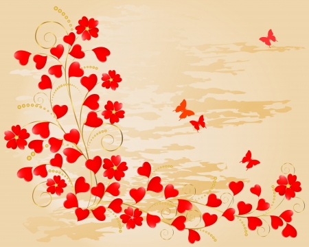 Valentine's Day. Floral grunge background with hearts and butterflies. Vector illustration. Stock Vector - 16760718