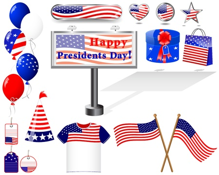 Presidents day. Set of Icons. (button, flag, billboard, t-shirt, balloon, gift).  EPS10. Vector Illustration. Stock Vector - 16760661