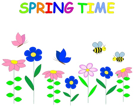 Spring time. Ñute flowers; butterflies and bees. Vector Illustration.