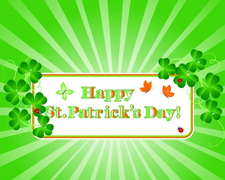 St.Patrick's Day. Banner with shamrocks, drops, butterflies and ladybirds. Vector illustration. Stock Vector - 16760660