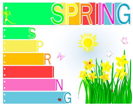 Spring booklet with yellow ribbon and bow Vector