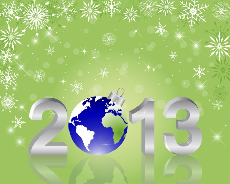3d 2013 New Year with globe and reflection on the holiday background illustration Stock Vector - 16833528