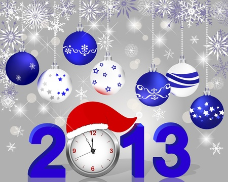 Silver 2013 with clock in Santa Vector