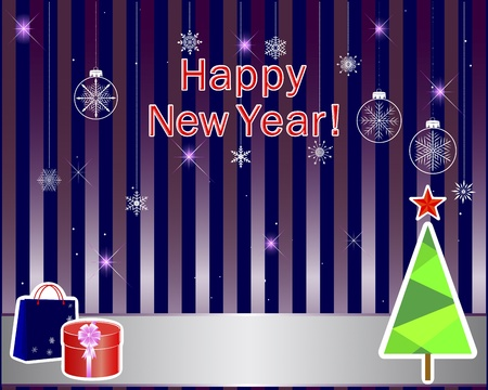 New Year stickers with a banner on a cute background illustration Stock Vector - 16833527