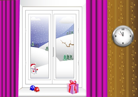 portiere: Christmas interior and window with a winter view