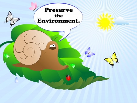 Snail and bubble with text-Preserve the Environment  illustration  Vector