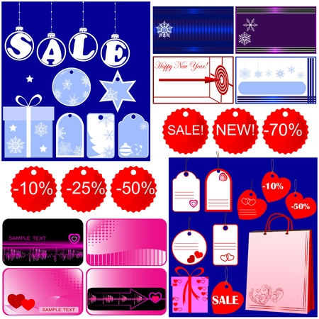 Set of Christmas and Valentine Vector