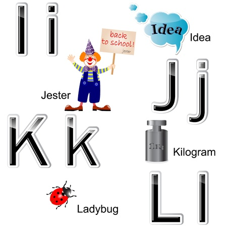 Glossy letters-stickers. The alphabet with drawings, letters I, J, K, L.  Vector