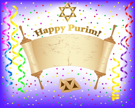 purim: Torah scroll and Star of David on a festive background with curling ribbons and confetti  illustration