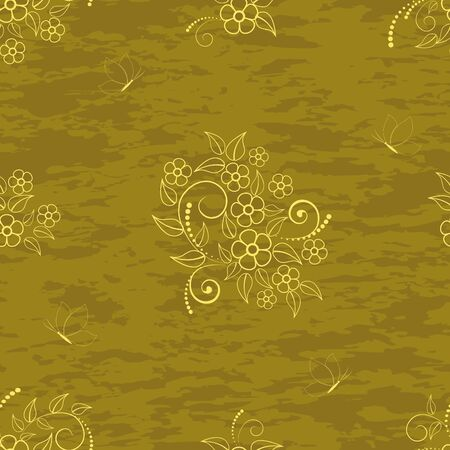 Seamless pattern with flowers and butterflies on grunge background Stock Vector - 16833569