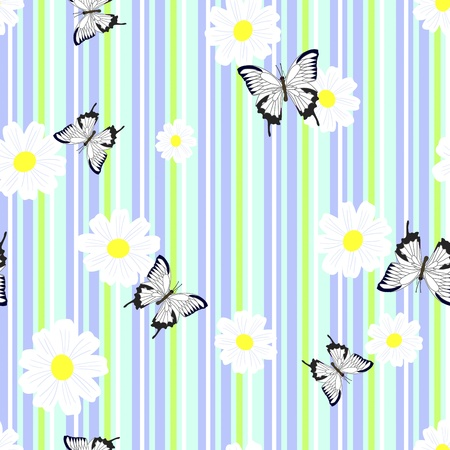 ox eye daisy: Seamless pattern with camomiles and butterflies illustration