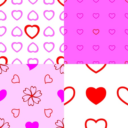Set of heart seamless pattern  Vector