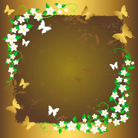 Grunge floral background with butterflies. Vector. Stock Vector - 16901494