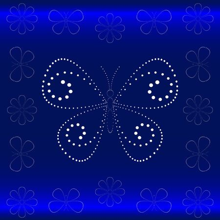 Floral background with butterflies and flowers from points. Vector. Vector
