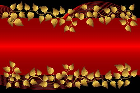 Gold leaves and red banner on the black.vector illustration. Vector
