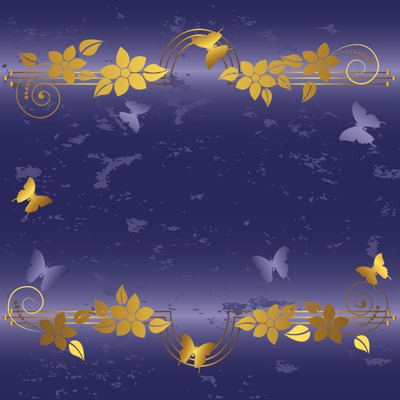 Grunge floral background with butterflies. Vector. Vector