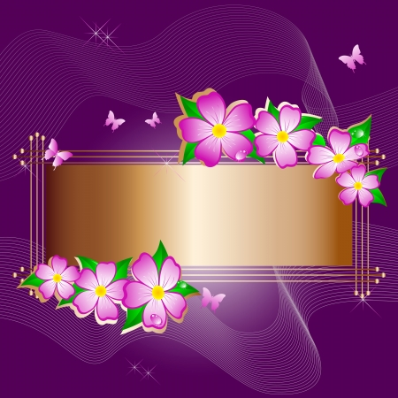 Golden banner with flowers and butterflies. Vector. Vector