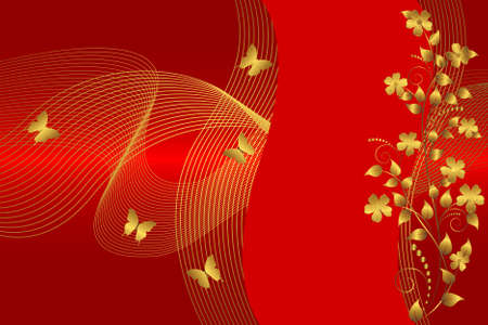 Golden flowers and butterflies on the red background. Vector. Vector