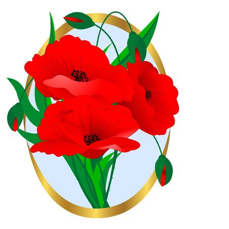 Red poppies in a gold framework. Vector. Stock Vector - 16901476