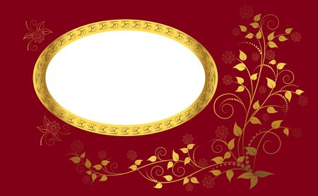 golden border: Golden frame with floral ornament. Vector. Illustration