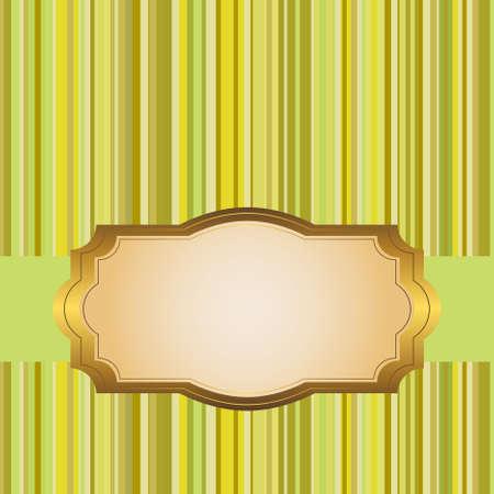 marcos decorados: Marco de oro en un fondo de color a rayas. vector.