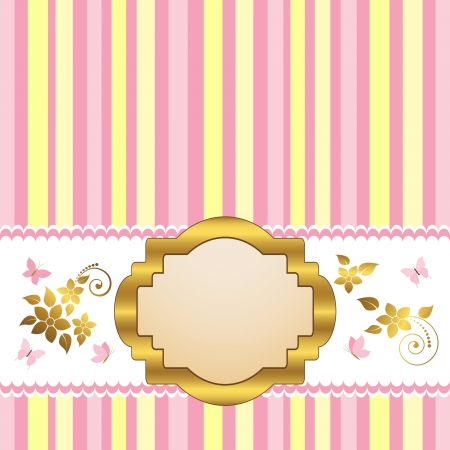 gratulation: Golden vintage frame design for greeting card with floral and butterflies. Vector.